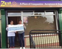On behalf of Zest healing the hurt of Self-harm and Suicide. We would like to say Thank You to Geraldine Mc Ginn for her generous donation of £1039.15 raised durning a Coffee morning held in The Village Inn (killyclogher). Your kindness and support is gratefully appreciated. ( In photo) Geraldine Mc Ginn presenting the cheque to Margaret Hasson Zest (fundraising volunteer).